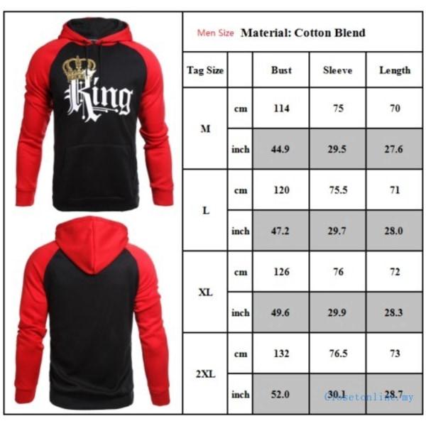 Kung och drottning par Unisex Lover Pullover Pocket Hooded King 2XL
