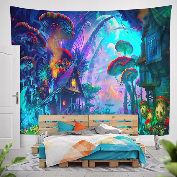 Psychedelic Mushroom House Wall Hanging Tapestry Art 203*153cm