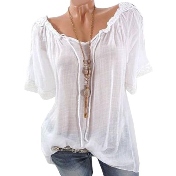 Kvinnor genomskinlig spets-T-shirt med V-ringning White S