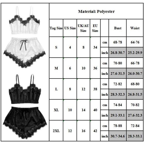 Kvinnors sexiga strappy underkläder nattkläder pyjamaset svart Black S