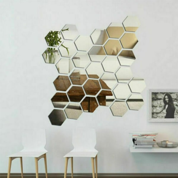 3D-spegelplattor Mosaik Väggdekaler Självhäftande sovrum 12 pcs