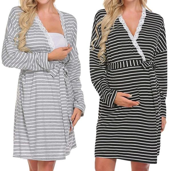 Kvinnors moderskap Långärmad amning Wrap nattklänning Black XL