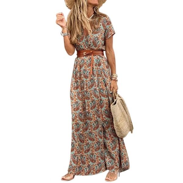 Dam sommar V-ringad Boho-bältad lång klänning Red S