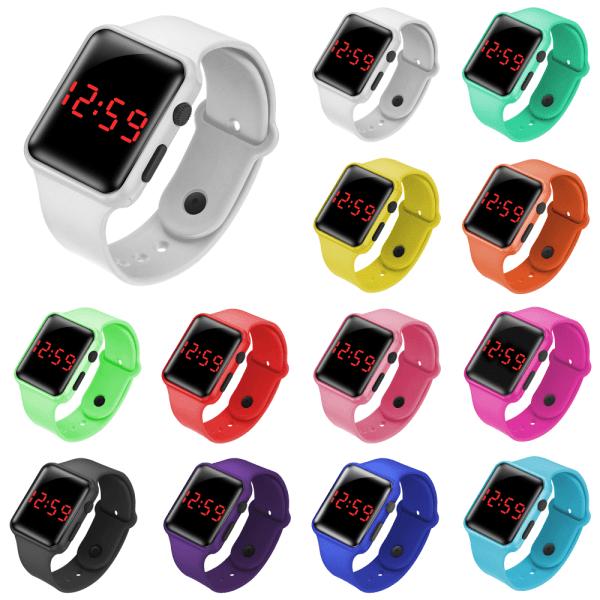 LED Square Electronic Digital Smart Watch Sports Armband orange