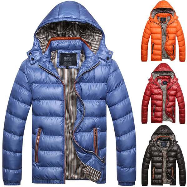 Mäns finnerät Puffer Plain Hoody Coat Winter Warmer Jacket Black 3XL
