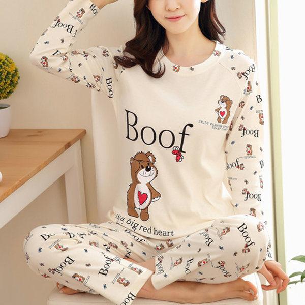 Kvinnors PJ Set Långärmade toppar Byxor Nattkläder Loungewear Boof M