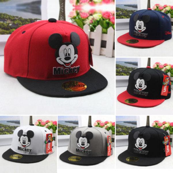 Pojkar Flickor Mickey Mouse Snapback Sports Gym Justerbar hatt Grey