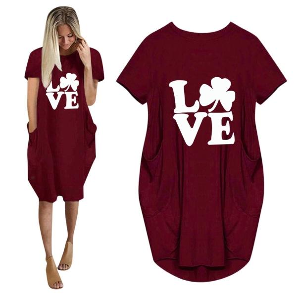 Alla hjärtans dag KÄRLEKER Klövertryck sommar T-shirt klänning Wine Red S