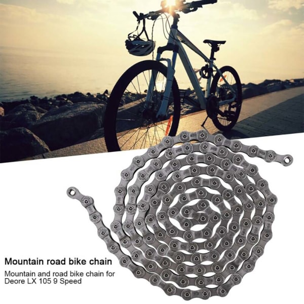 9-delad stålcykelkedja för Deore LX 105 Gear MTB