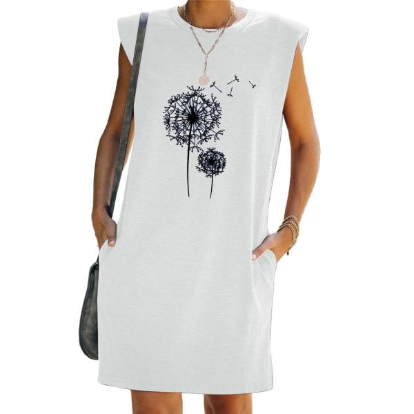 Kvinnor ärmlös mini klänning tryckta fickor Beach klänningar White S