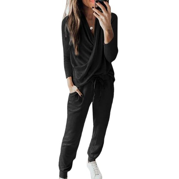 2: a Kvinnors träningsoveraller Set Loose Loungewear Stickat Black S