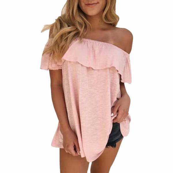 Plus Size Womens sommar Off Shoulder kortärmad blus T-shirt Pink XL