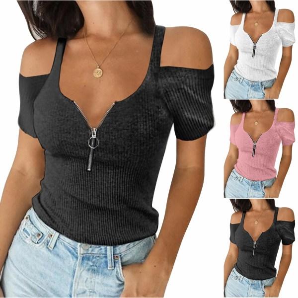 Kvinnors rena färg Casual sommar topp blixtlås off Shoulder T-shirt Pink XL