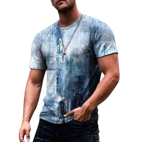 Herrtryckt sommar kortärmad T-shirt Casual blus blå XL