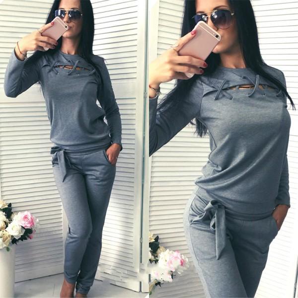 Kvinnor Träningsdräkt Lounge Set Bandage Främre Sport Hemkläder Grey S
