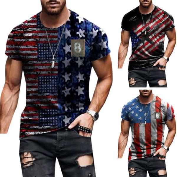 Herr Trendiga Slim Casual T-shirt Sommar Kortärmade Toppar #1 XL