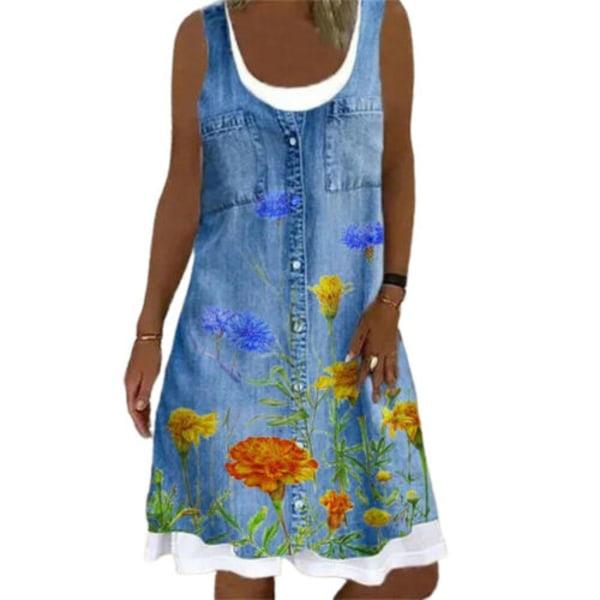 Kvinnors blommor ärmlös rund hals sommar tank klänning #1 5XL