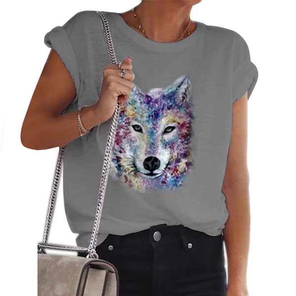 Kvinnor Pullover Kortärmad Wolf Casual Loose Bluse T-shirt Grey M