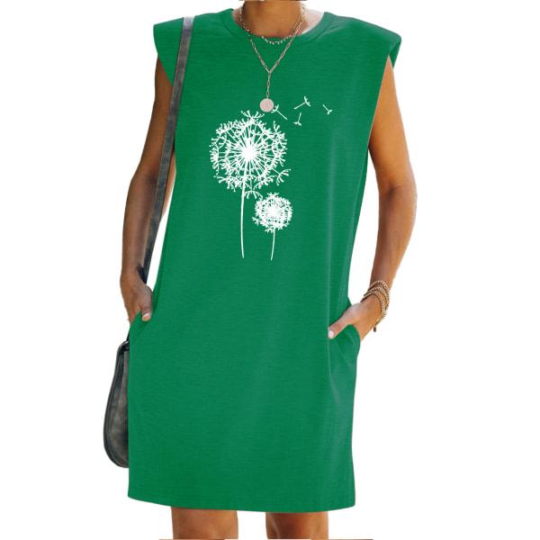 Kvinnor ärmlös mini klänning tryckta fickor Beach klänningar Green L