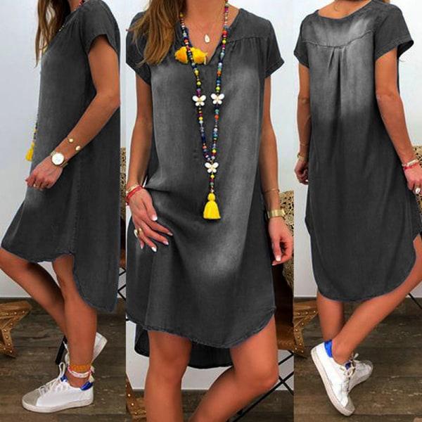 Kvinnor V-ringad kortärmad denimklänning Black S