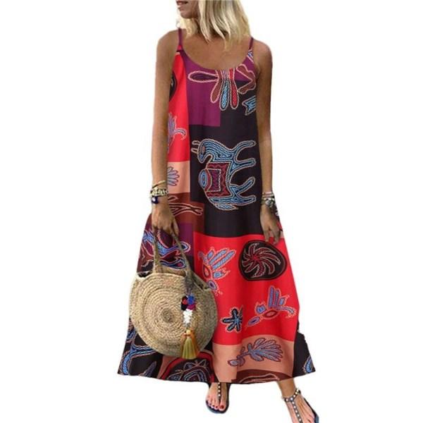 Kvinnors blommiga fjärilsprint Sling Maxiklänning Casual Holiday Red L