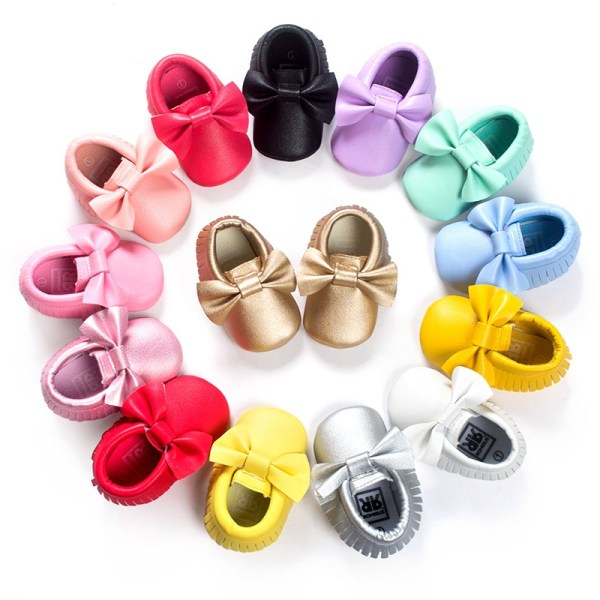 Mode Baby tofsar Mockasinskor Nyfött läder pink 11