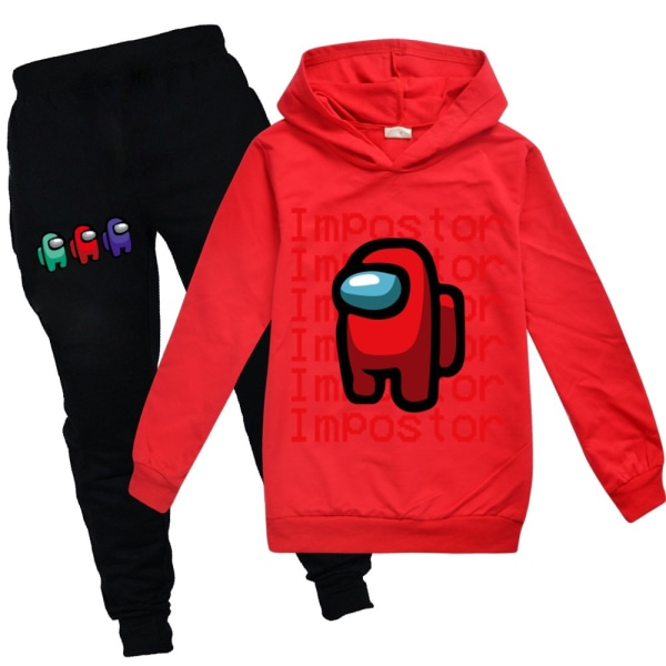 Among Us Game Impostor Set Hoodie Kids Boys Outfit Toppar Byxor Red 120