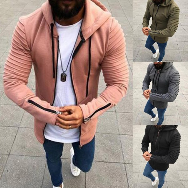 Herr Långärmad Zip Up Jacka Coat Winter Warm Sweatshirt Top Pink 3XL