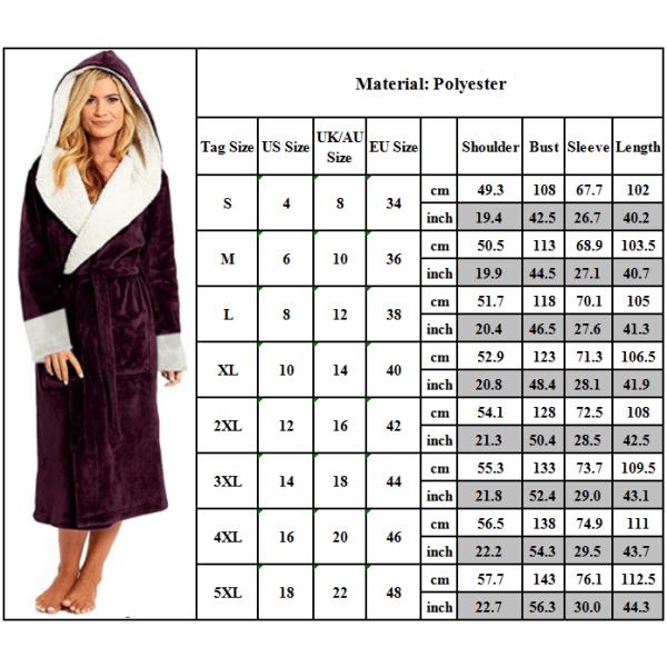 Kvinnor Mens varmare kappa Fleece päls Hooded Nightwears badrock White L