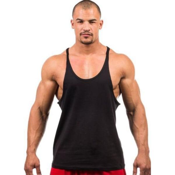 Mens Sports Tops Singlets Ärmlös Vest Workout T-shirt Grå 2XL