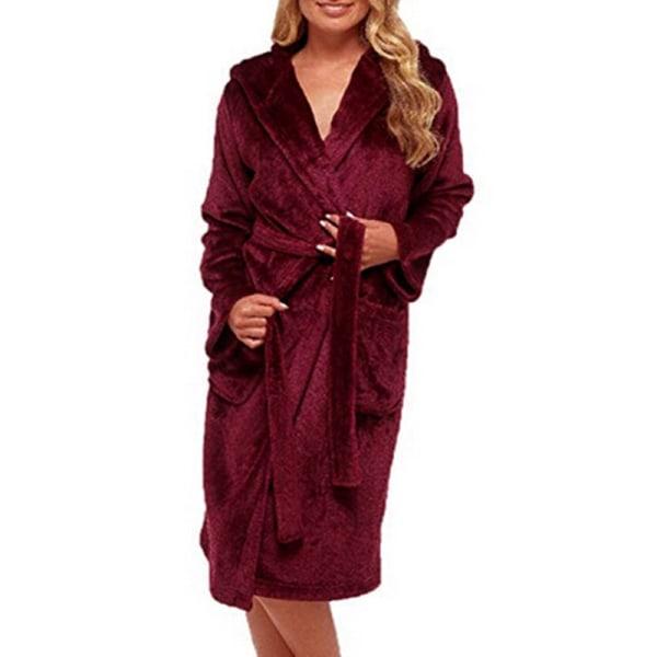 Damklänning med fleecejacka Bekväm badrock Wine Red 3XL