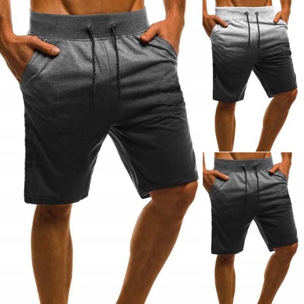 Män Tie Dye dragsko Casual Sweat Beach Shorts Byxor Dark Grey 3XL