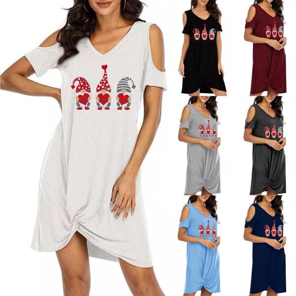 Kvinnor V-hals kall axel kort ärm T-shirt klänning sundress Dark Cyan L