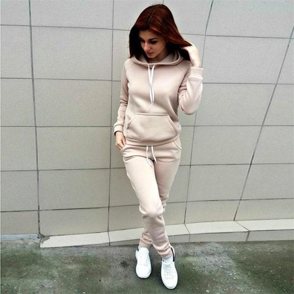 Höst Damfickor Hood Träningsoverall Streetwear Red L