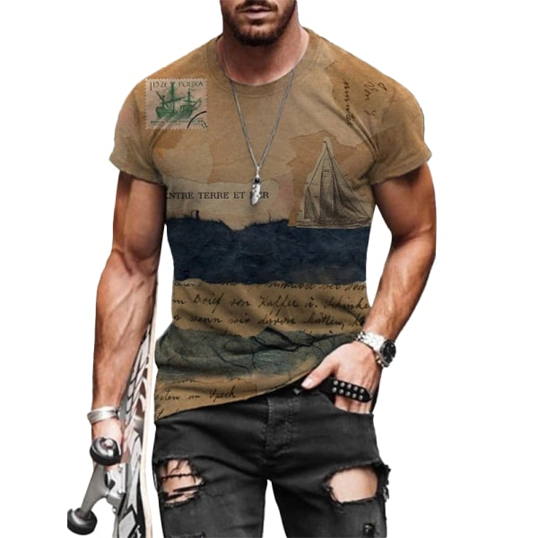 Herr Vintage kortärmad T-shirtblus Sommar Casual Toppar # 2 2XL