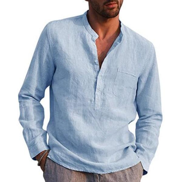 Män Casual Långärmad Henley T-shirts Knapp V-ringad höst Light Blue XL