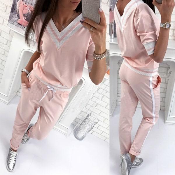 Mode rosa sport-set med V-ringning Pink L