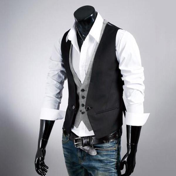Retro herrväst formell väst Slim Fit Business Jacket Black 2XL