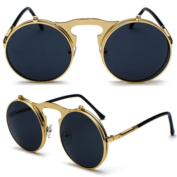 Vintage Flip Up Lens Solglasögon Mens Circle Round Glasses Silver Frame Grey Lenses 1 Pack
