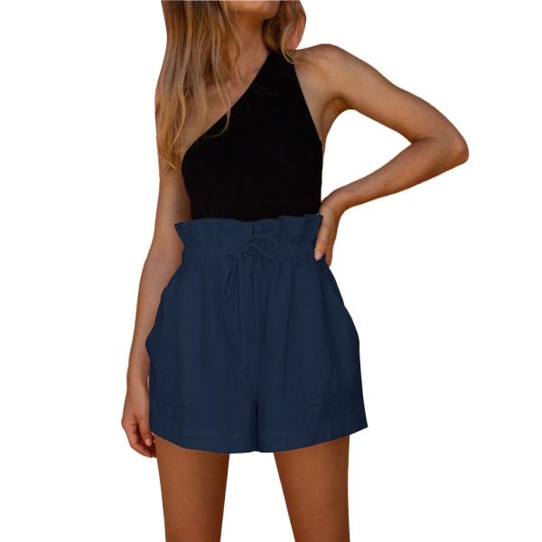 Kvinnor sommar elastisk midja Plain Short Pant Beach Shorts fickor Blue XL
