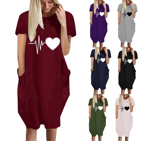Kvinnor Hjärttryck Kortärmad T-shirt Klänning Alla hjärtans dag Wine Red M