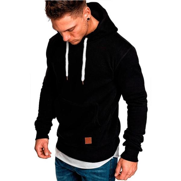 Herr Fleece Zip Up Hoodie Sweatshirt Coat Jacket Tröja Black L