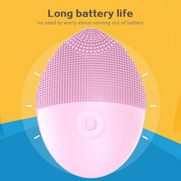 Silikon elektrisk tvättborste Rengöringsborste Vattentät massage pink