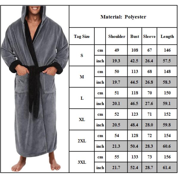 Herr Hooded Casual Solid Loungewear Badrock Klänning Nattkläder Grey XL