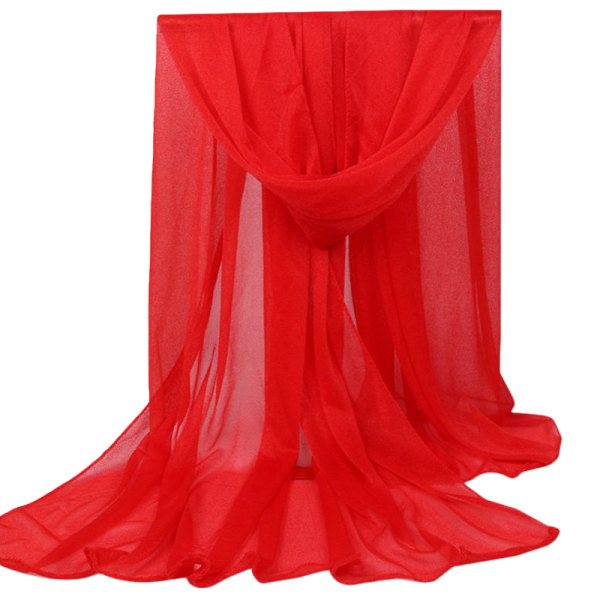 Ladies Long Plain Shawl Scarf Wrap Style Casual Scarf red