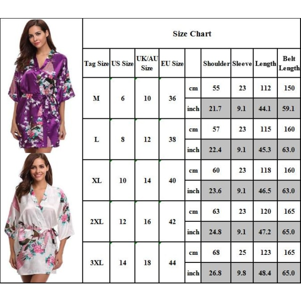 Lady blommig v-ringad kimono klänning pyjamas nattkläder nattkläder Purple 2XL