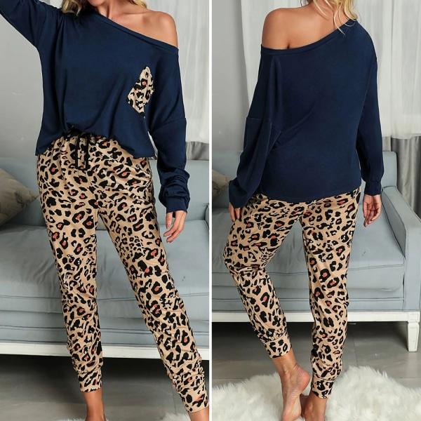Kvinnor Leopard Patchwork Träningsdräkt En axel Toppar med byxor Khaki S
