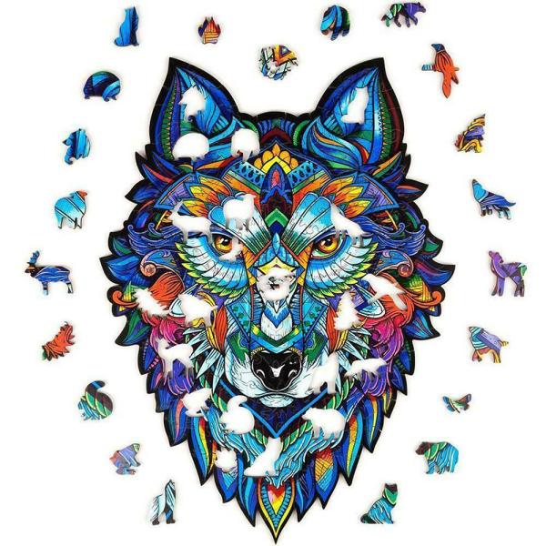 Animal Träpussel Pussel Unik form Majestätisk Gåva Wolf A4
