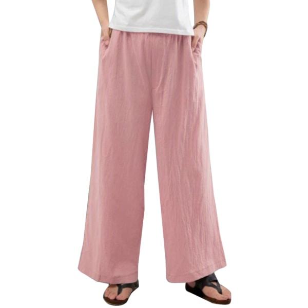 Kvinnors Plain Holaidy Palazzo Byxor Baggy Wide Leg Pants White S