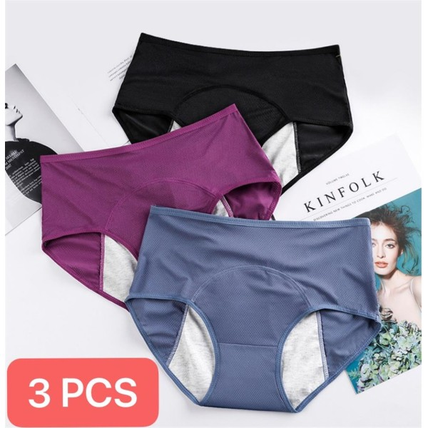 3ST Kvinnors Knickers Trosbyxor Underkläder Byxor Black + Purple + Blue 5XL